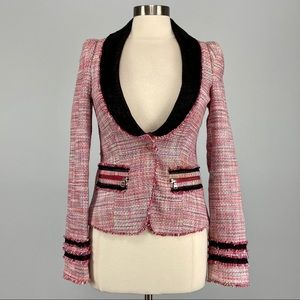 Rachel Roy Pink Tweed Fringe Blazer Jacket 4